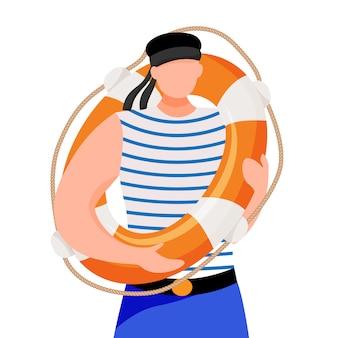 Боцман плоской иллюстрации. моряк в рабочей форме. морское занятие. моряк с спасательный круг на белом фоне