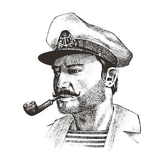 파이프가있는 보트. 바다 선장, 해양 선원 또는 블루 재킷, 수염 또는 남자 선원 선원. 배나 보트로 여행하십시오. 오래 된 boho 스케치에 그려진 새겨진 손.