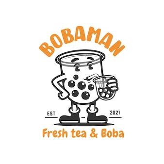 Boba girl mascot logo girl drinking boba vector illustration