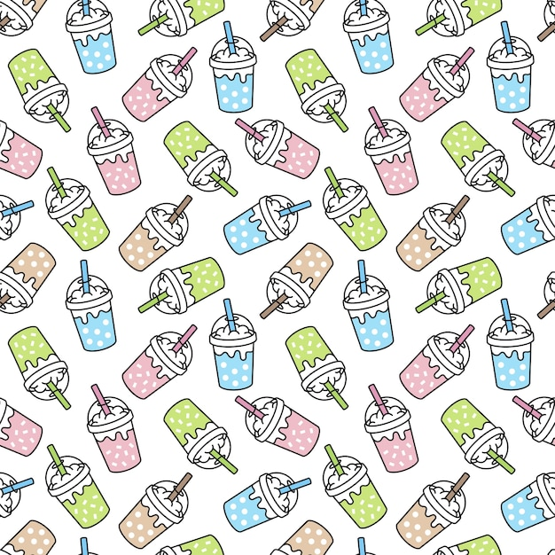 Boba milk tea seamless pattern bubble  ice coffee