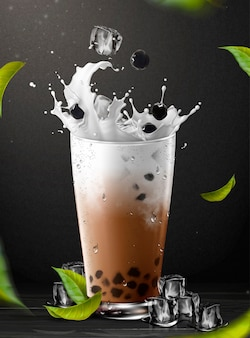 Boba tea element with splashing milk in glass cup on black background, 3d illustration