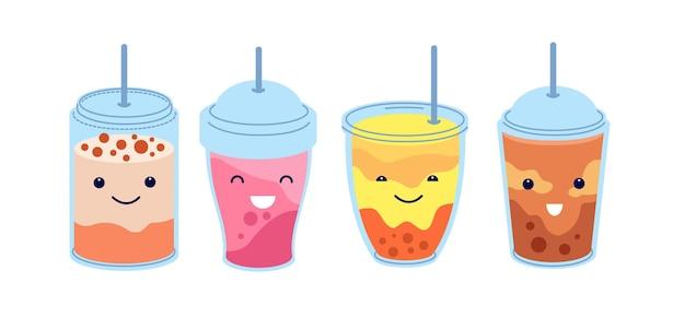 Boba tea. healthy refresh bubble milk drink. trendy cold asian juice, cute cartoon milkshake. isolated various smoothie