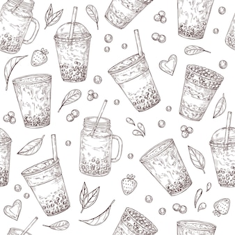 Boba tea seamless pattern