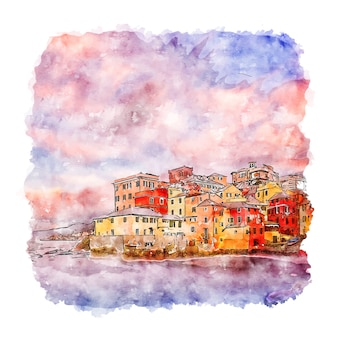 Boccadasse italy watercolor sketch hand drawn illustration