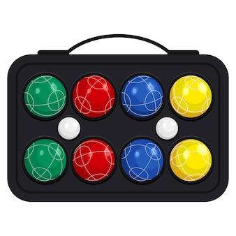 흰색 배경에 고립 된 키트 또는 케이스 벡터 일러스트 레이 션에 bocce 공. 금속 또는 다양한 종류의 플라스틱으로 만든 다채로운 공