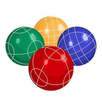 흰색 배경에 격리된 금속 또는 다양한 종류의 플라스틱 벡터 삽화로 만든 보체 공. bocci는 boules 가족에 속하는 구기 스포츠입니다.