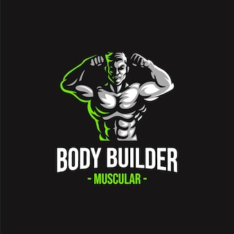 Body builder mascot logo vector template