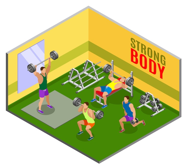 Body building workout isometric composition
