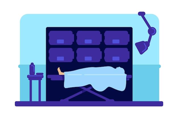 Body in hospital morgue flat color illustration