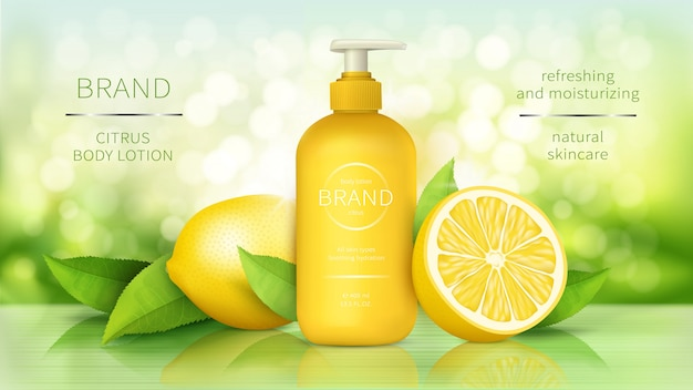 Body lotion with lemon, skin care cosmetics realistic ads poster dispenser bottle with organic moisturizer