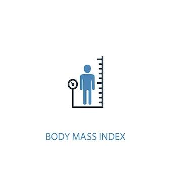 ボディマス指数のコンセプト2色のアイコン。シンプルな青い要素のイラスト。ボディマス指数の概念記号のデザイン。 webおよびモバイルui / uxに使用できます