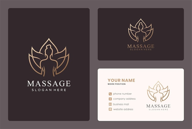 Body massage logo design with a lotus flower.