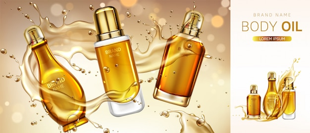 Body oil cosmetics product bottles banner.