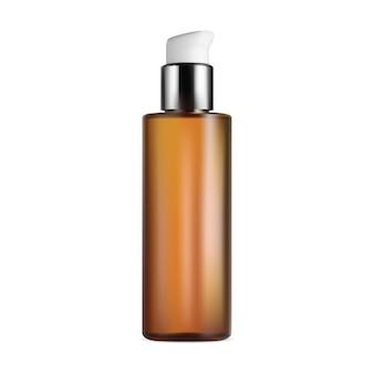 Флакон с косметикой для тела или волос. макет дизайна упаковки насоса. ароматическое эфирное масло, золотой шаблон, увлажняющая сыворотка, увлажняющий лосьон