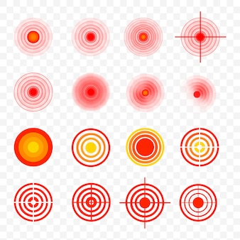 Body painful spot marks. red rings of pain to indicate localization of pain in different parts of the human body such as the back, neck, head, back and others. muscle pain, painful headaches or healt
