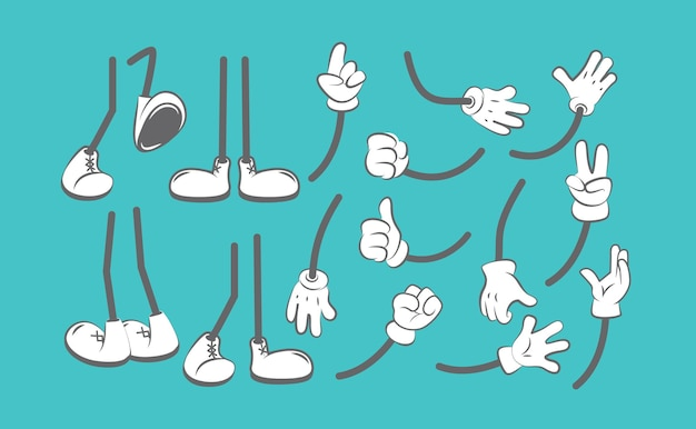 Body parts cartoon. hands and legs animation creation kit clothing boots for characters arm glove .