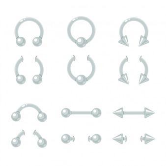 바디 피어싱 쥬얼리 세트. 커브, 바벨, 스파이크, 볼 폐쇄 링. 고립 된 빛나는 금속 귀걸이
