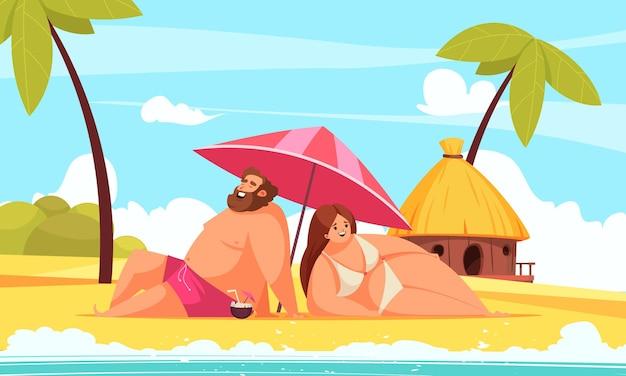 Body positive cartoon illustration with happy chubby man and woman lying under umbrella on beach