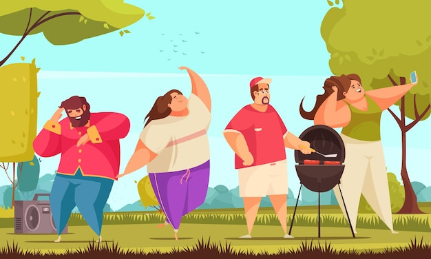 Body positive cheerful people have party in park cartoon illustration