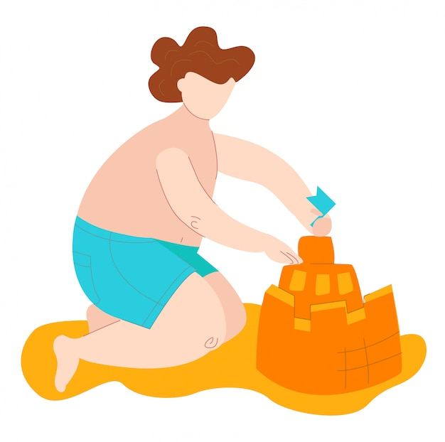 Body positive fat kid in swimsuits on sea builds sand castel, plus size caucasian chid isolated on white flat   illustration.