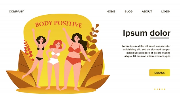 Body positive female characters in bikini waving by hands flat illustration. happy plus size girls in swimsuits with different figures. beauty and active healthy lifestyle concept