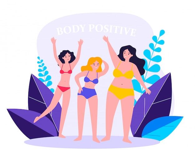 Тело позитивных женских персонажей в бикини машет руками