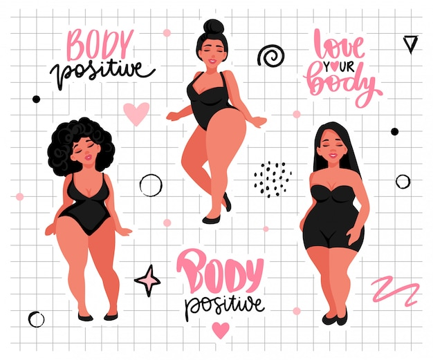 Body positive, feminism sticker collection. love your body activists slogan, woman motivational phrase
