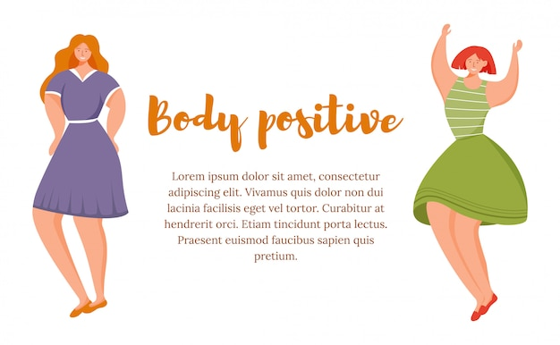 Body positive flat poster vector template
