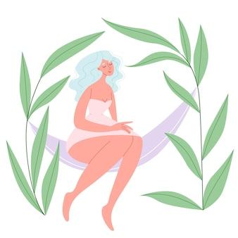 Body positive girl in a hammock