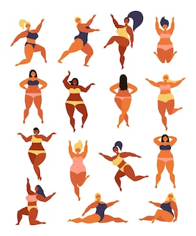 Body positive girl power and feminism illustration happy plus size girl wearing swimsuit