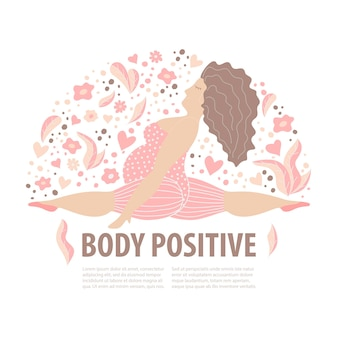 Body positive girl with active life style. happy plus size women in twine position. vector illustration.