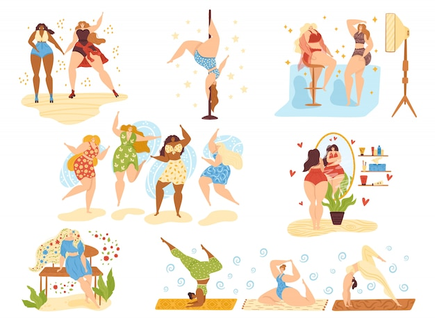 Body positive happy girls, beautiful overweight women plus size  on white  illustrations set. attractive body positive woman dancing, beauty and health caring, do yoga and active sport.