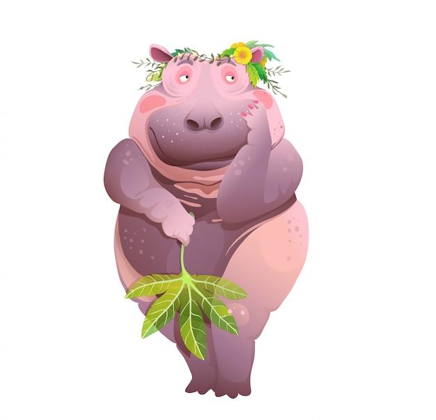 Боди-позитив обнаженный застенчивый бегемот, милый принт плаката или плакат для дизайна ванной комнаты. мультфильм с пухлым человекоподобным бегемотом.