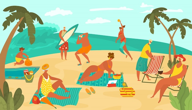 Body positive people on sea beach playing ball, sun bathing on sand, surfing and drinking coctails, palms flat   illustration.