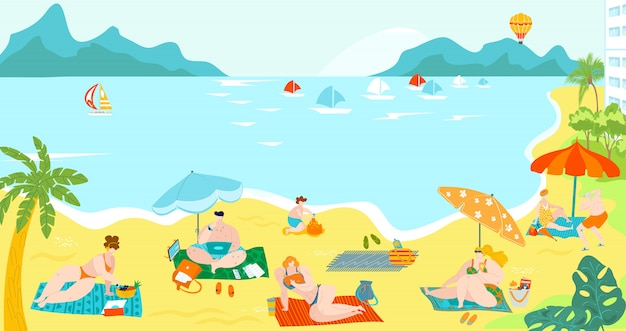 Body positive people on sea beach resort in summer in swimsuits sun bathing on sand, palms and yachts in sea flat   illustration.
