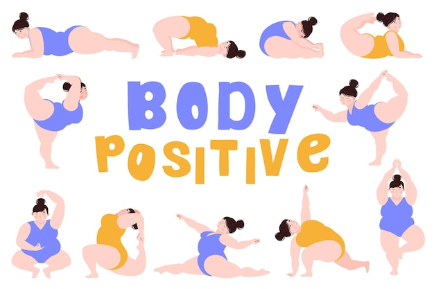 Body positive a plump girl is engaged in yoga meditation set of various positions in yoga