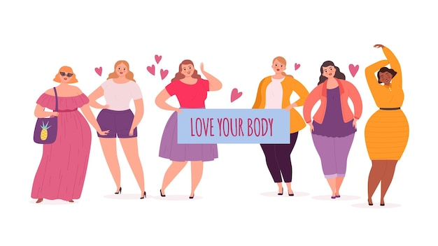 몸은 긍정적이다. 통통한 여성, 플래카드가 있는 특대 모델 소녀는 당신의 몸을 사랑합니다. 귀여운 뚱뚱한 여성 문자 벡터 일러스트 레이 션. 특대 여성, 매력적인 체중