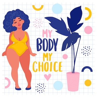 Body positive stickers. plus size woman dressed in swimsuits.
