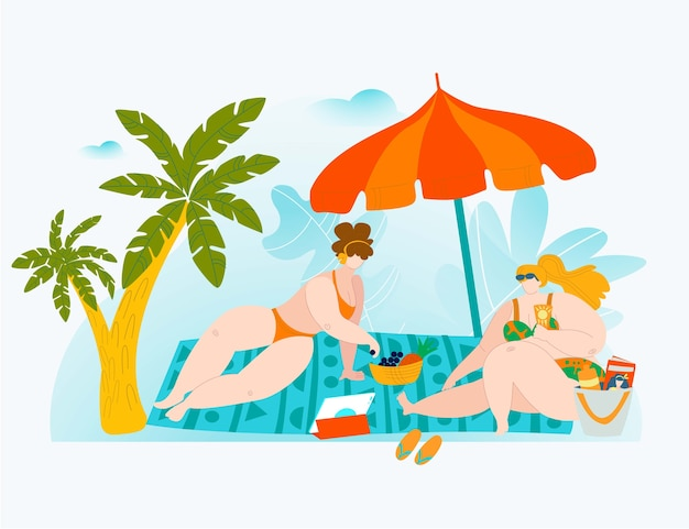 Body positive summer vacation, big people, beautiful swimsuit, young attractive ,    illustration.  on white, overweight, chubby fashion man, sea sand, beach vacation.