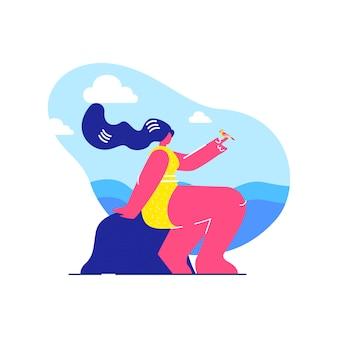 Body positive swimsuit model vector illustration