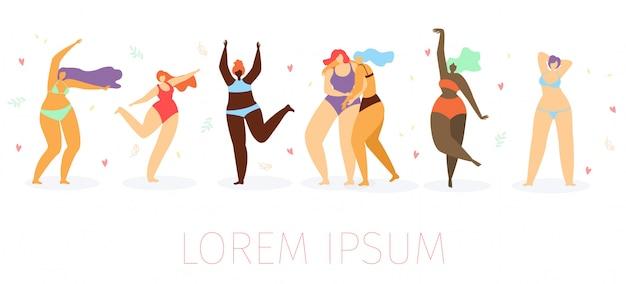 Body positive women dancing on beach flat vector