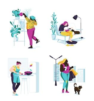 ボディポジティブ女性女性は昼寝時間を設定します。さまざまな人種植物の灌漑、料理、猫と一緒に本を読む、犬と一緒に歩く。漫画フラット。