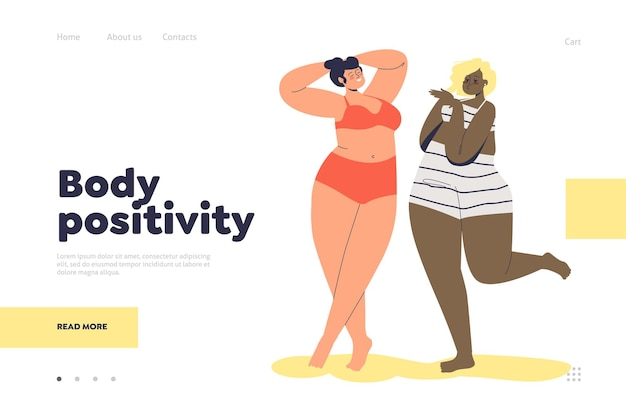 Body positivity concept of landing page with happy plus size diverse female