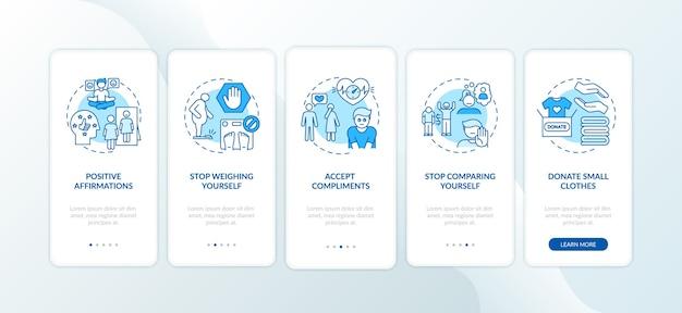 Советы по бодипозитиву: экран страницы мобильного приложения с концепциями