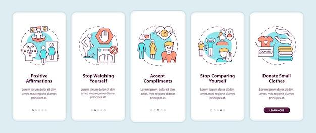 Советы по бодипозитиву на экране страницы мобильного приложения