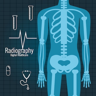 Body radiography isolated icon design