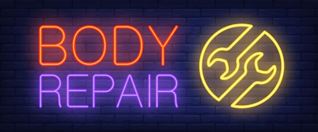 Body repair sign in neon style