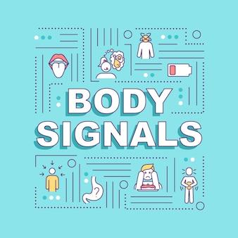 신체 신호 단어 개념 배너입니다. 배고픔과 식욕감퇴, 소화불량. 파란색 배경에 선형 아이콘으로 인포 그래픽입니다. 고립 된 인쇄 술입니다. 벡터 개요 rgb 컬러 일러스트