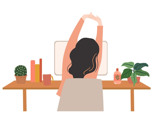 Body stretching while working vectpr illustration