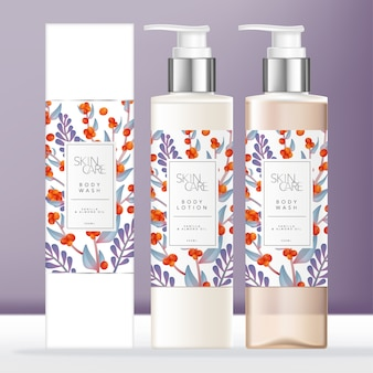 Body wash or soap dispenser or pump bottle, chrome & transparent plastic bottle packaging with elegance floral pattern printed label. carton box outer packaging.